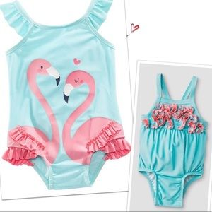 2 baby girl bathing suits